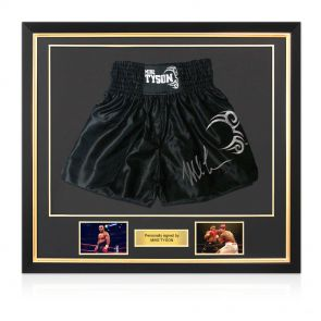 Framed Mike Tyson Signed Boxing Shorts