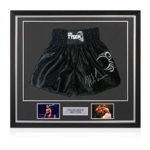 Framed Mike Tyson Signed Boxing Trunks