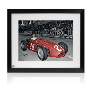 Stirling Moss Signed Framed Formula One Photo: Monaco Winner