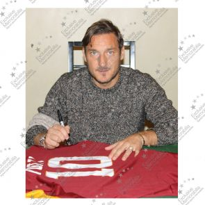 Francesco Totti Signed AS Roma 2014-15 Home Shirt - Damaged Stock