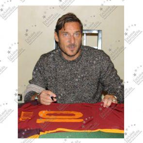 Francesco Totti Signed AS Roma Football Shirt 2015-16 Authentic. Framed