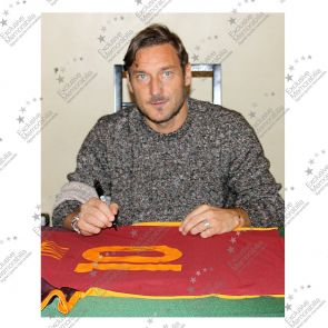 Francesco Totti Signed AS Roma 2015-16 Home Shirt In Deluxe Black Frame With Gold Inlay