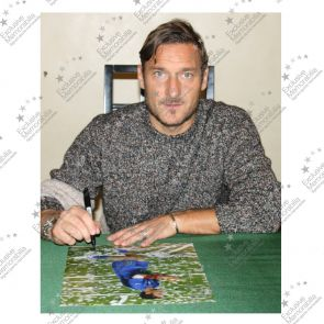 Francesco Totti Signed Italy Photo: World Cup Winner In Deluxe Black Frame With Gold Inlay