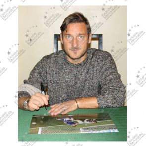 Francesco Totti Signed Italy Photo: World Cup Goal In Deluxe Black Frame With Silver Inlay