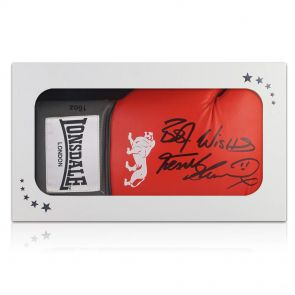 Frank Bruno autographed boxing glovein gift box