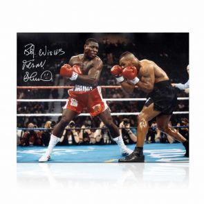 Frank Bruno Signed Boxing Photo: Fighting Mike Tyson In Gift Box