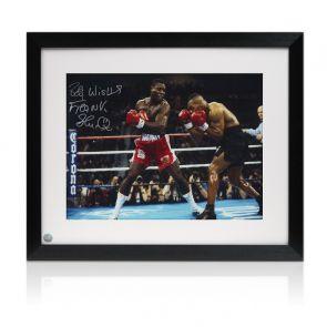 Frank Bruno Signed Boxing Photo: Fighting Iron Mike Tyson. Framed