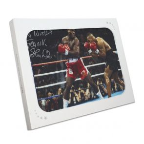 Frank Bruno Signed Boxing Photo: Fighting Iron Mike Tyson. In Gift Box