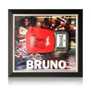 Frank Bruno Signed Red Boxing Glove. Framed