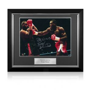 Frank Bruno Signed Boxing Photo: Fighting Oliver McCall. Deluxe Frame