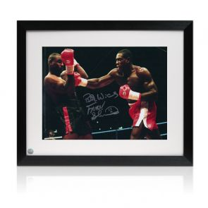 Frank Bruno Signed Boxing Photo: Fighting Oliver McCall. Framed