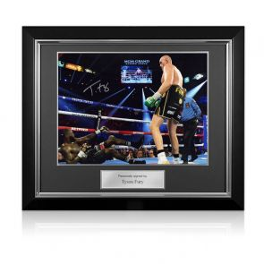 Tyson Fury Signed Boxing Photo: Fury vs Wilder 2. Deluxe Framed