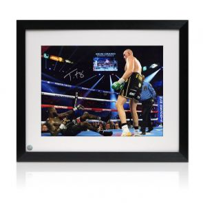 Tyson Fury Signed Boxing Photo: Fury vs Wilder 2. Framed