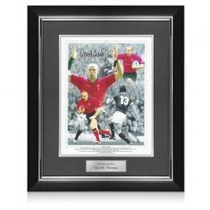 Gareth Thomas Signed Wales Rugby Photo. Deluxe Frame