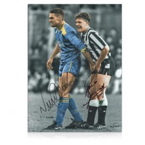 Paul Gascoigne And Vinnie Jones Signed Photograph. In Gift Box