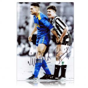 Paul Gascoigne And Vinnie Jones Signed Photograph In Gift Box