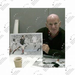 Archie Gemmill Signed Scotland Photo: Holland World Cup Goal. In Deluxe Black Frame With Silver Inlay