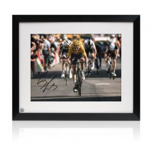 Geraint Thomas Signed Tour De France Photo: Alpe D'Huez Sprint Framed