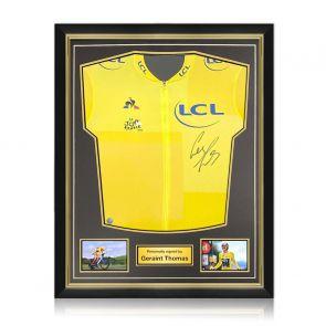Geraint Thomas Signed Tour De France 2018 Yellow Jersey. Superior Frame