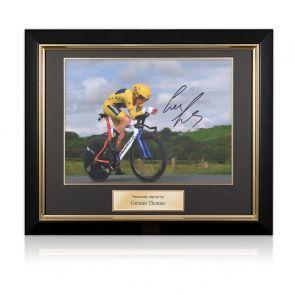 Geraint Thomas Signed Tour De France Photo: Time Trial. Deluxe Frame