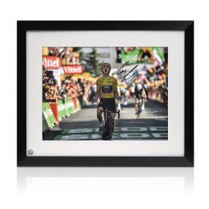 Geraint Thomas Signed Tour De France Photo: Alpe D'Huez Finishing Line Framed