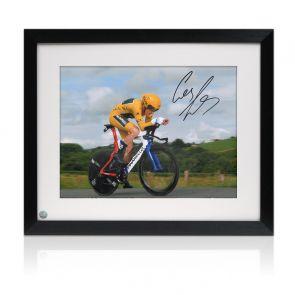 Geraint Thomas Signed Tour De France Photo: Time Trial Framed