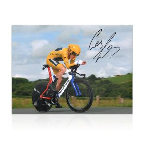 Geraint Thomas Signed 2018  Tour De France Cycling Photo: Time Trial In Gift Box