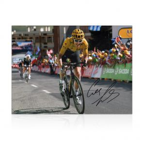 Geraint Thomas Signed Tour De France Photo: Winning On Alpe D'Huez In Gift Box