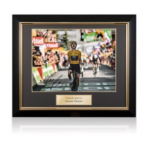 Framed Geraint Thomas Signed Tour De France Photo: Alpe D'Huez Finishing Line