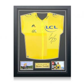 Geraint Thomas Signed Tour De France 2018 Yellow Jersey. Standard Frame