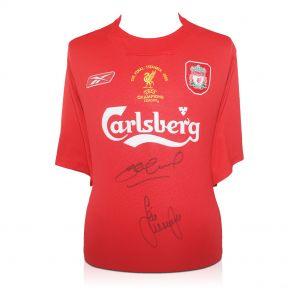Signed Jamie Carragher and Steven Gerrard 2005 Shirt
