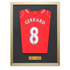 Framed Steven Gerrard Liverpool Jersey