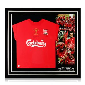 Steven Gerrard Signed Liverpool Champions League Shirt 2005. Premium Framed