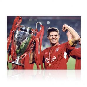 Steven Gerrard Signed Liverpool Photograph: Istanbul 2005. In Gift Box