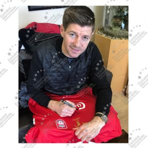 Steven Gerrard Signed Liverpool Champions League Shirt 2005. Framed Istanbul Presentation