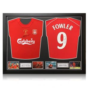 Steven Gerrard And Robbie Fowler Signed Liverpool Shirts. Dual Frame