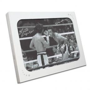 Sugar Ray Leonard And Roberto Duran Signed Classic Boxing Photo In Gift Box
