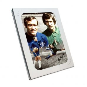 Ron Harris And Peter Bonetti Signed Chelsea Photo In Gift Box