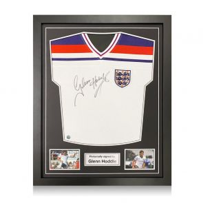Glenn Hoddle Signed England 1982 Football Shirt. Standard Frame