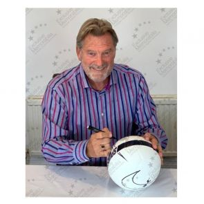 Glenn Hoddle Signed Tottenham Hotspur Football. In Display Case