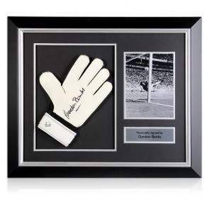 Framed Gordon Banks Signed Glove