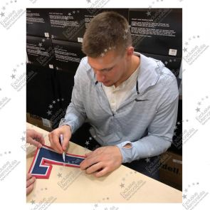 Rob Gronkowski Signed American Football Jersey. Standard Frame