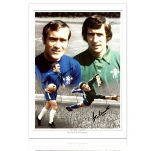 Ron Harris And Peter Bonetti Signed Chelsea Photo. In Gift Box