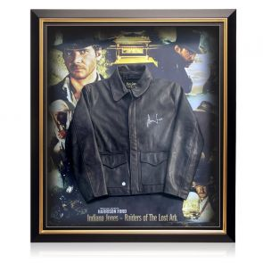 Harrison Ford Signed Raiders Of The Lost Ark Leather Jacket. Deluxe Frame