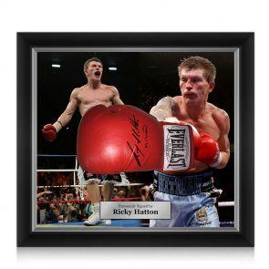 Ricky Hatton signed framed boxing glove