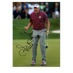 Ian Poulter Signed Photo: Birdie On The 16th In Gift Box