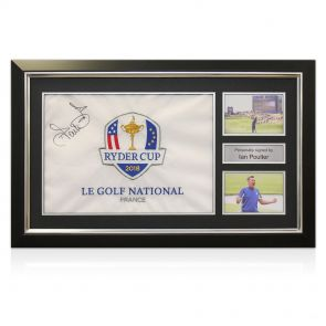 Framed Ian Poulter Signed Pin Flag