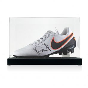 Ian Wright signed left football boot in display case