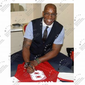 Framed Ian Wright Signed Arsenal Football Shirt