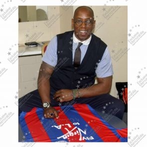 Ian Wright Signed Crystal Palace 1990 FA Cup Final Football Shirt In Deluxe Black Frame With Silver Inlay